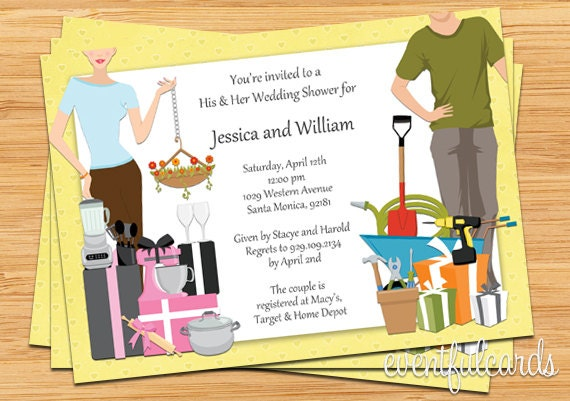Couples Wedding Shower Gift Ideas: His And Hers Couple Wedding Shower Invitation