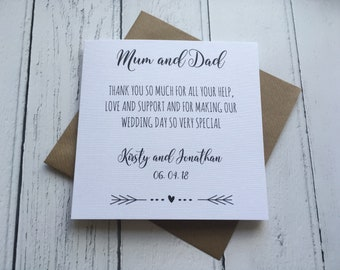 Personalised Simple Wedding day Thank you card ~ Mum and Dad ~ Step parents ~ parents of the Bride~ parents of the Groom ~ Grandparents