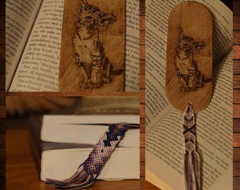 handmade wooden bookmark pyrography cat