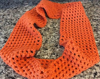 FREE SHIPPING Handmade Infinity Scarf, Crocheted Infinity Scarf, Orange Handmade Crocheted Infinity Scarf