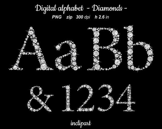 Clipart Rhinestone Diamond Letters Numbers Digital Sparkle