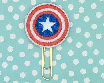 Planner Clip, Captain US Inspired Clip, Superhero Planner Clip, Shield Planner Clip, Organizer Accessory, Notebook Accessory, Bookmark Felt