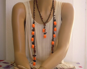 crochet flower necklace, neon orange tulip, lariat