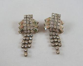 Vintage Rhinestone Art Deco Earrings