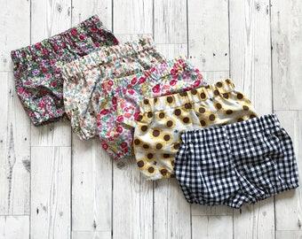 Baby Bloomers, Baby Bloomer Shorts, Newborn Shorts, Newborn Bloomers, Floral Bloomers, Gingham Bloomers, Baby Girl Shorts, Baby Gift