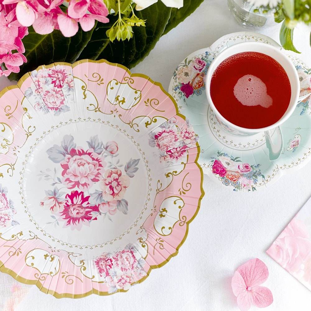 Sold by ItsPartyParty & 12 Party Porcelain Floral Bowls / Pink Rose Paper Plates / Floral ...