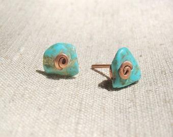 Stud earrings, post earrings, blue earrings, gold earrings, turquoise stud earrings, tiny earrings, small
