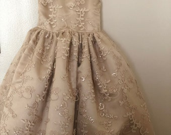 Champagne sequin lace dress flower girl special occasion dress wedding