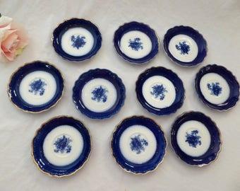 """TEN WH Grindley Flow Blue Saucer Plates 5.75"""" Blue Rose, W.H. Grindley Blue Rose Saucers Flo Blue"""