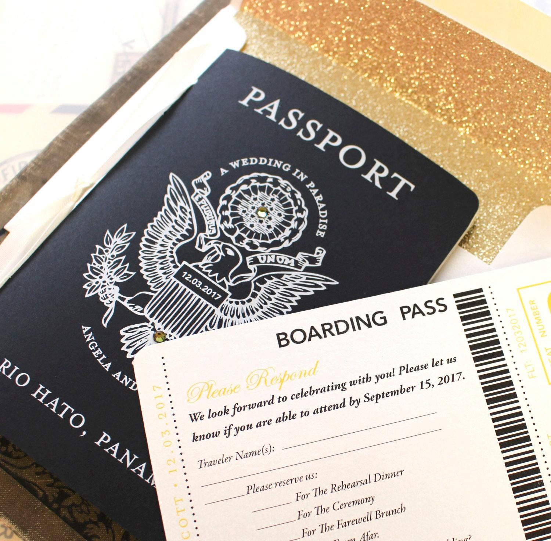 Black and Gold US Seal White Ink Passport Wedding Invitation
