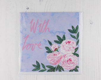 Peony With Love Greetings Card