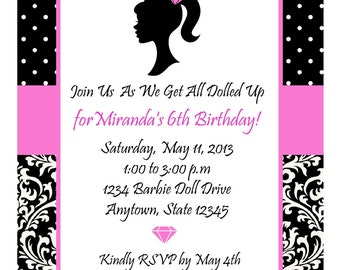 GLAMOUR GIRL DIVA Party  Hot Pink and Black Invitation / Printable Digital File/All Dolled Up/ Dress Up Personalized Girls Birthday