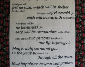 WEDDING WALL HANGING- Marriage Wall Hanging-Wedding/ Marriage Blessing- Appache Wedding Blessing-Days of Togetherness