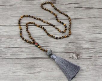 Tiger eye bead necklace Gemstone necklace Silk tassel necklace Long bead necklace bead tassel necklace BOHO bead necklace Bead Jewelry NL014
