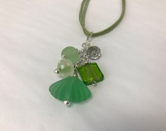 Lime Green Sea Glass Pendant Cluster Necklace