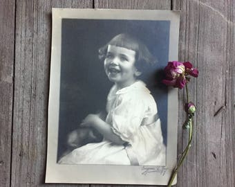 Laughing Little Girl - 1930's - Large Old Photo