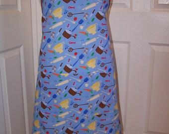 Ruffled Women's Apron, Robins Egg Blue Full Chef Apron, Hostess Full apron, Ready to ship