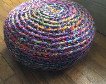 Foot stool - floor pillow - crocheted floor pouf - colorful floor pillow - living room decor - home accents - small stool - teen room