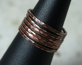 Hand hammered antique copper midi ring, knuckle ring, stack rings, 2 pcs (item ID ACSR))