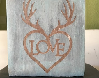 Love with Antlers Wood Sign