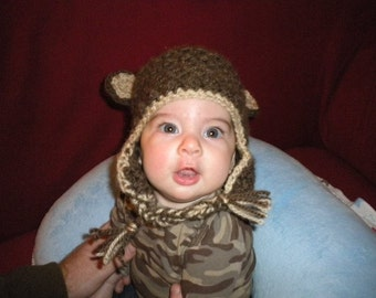 Bear Hat with Ear Flaps- MADE to ORDER- Newborn and Toddler listing