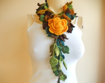 Autumn Crochet Scarf-Leaves  Necklace Scarf-Multicolor Lariat Scarf-Necklace Lariat Scarf-Shades of Green Scarf-Vegan Scarf-2 pieces