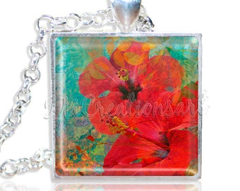 """LIQUIDATION SALE! Hibiscus Flowers 1"""" Square Glass Pendant or with Necklace - SQ160"""