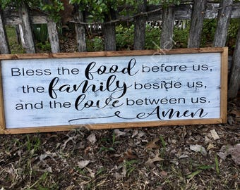 Grace Sign, Food Blessing, Blessing Sign, Dining Room Sign, Kitchen Sign, Saying Grace Sign , Farmhouse Decor, Bless the food before us Sign