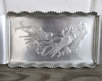 Vintage Silver Catch all Tray,  Valet Tray for Men, Vintage Mens Valet Tray, Silver Catchall Tray, Entryway Organizer, Hallway Decor