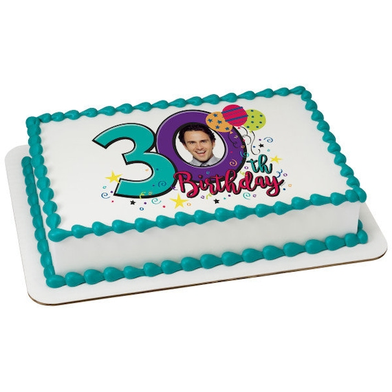 Happy 30th Birthday - Edible Cake and Cupcake Photo Frame For Birthdays and Parties! - D24112