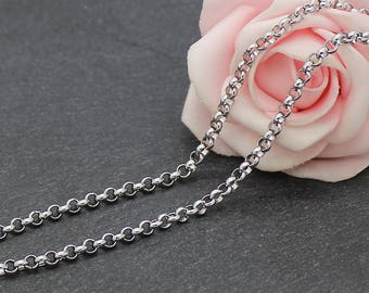 One meter of chain steel round link 3 mm stainless