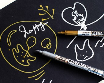 Felt Tip Pens in Metallic Gold, Gold Calligraphy Pen, Handlettering Pens in Gold and Silver, Handlettering Markers, Silver Calligraphy Pen,
