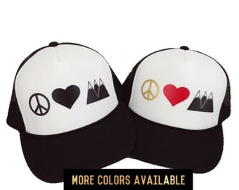 Peace Hat, Peace Love and Mountains, Women's Trucker Hat, Hippie Hat, Snapback, Hiking Hat, Camp Hat, Boho Hat, Hippie Hair, Outdoorsy
