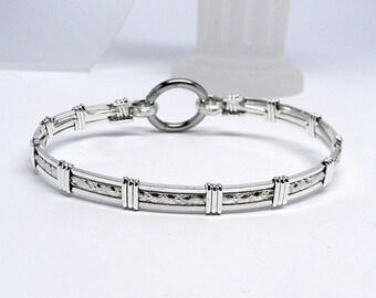 Made-To-Order Textured Center-Line Motif Slave Collar Alternative sterling silver Slave Bracelet