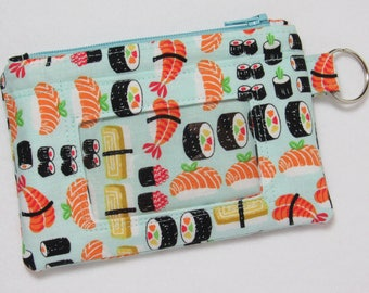 Sushi Keychain ID Wallet w/ Split Ring, Student / Teacher / Work ID, Badge Holder, Zip Pouch, Sashimi, Japanese - 2 Options for ID Pocket