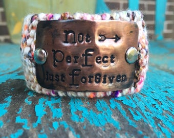 Christian Cuff  Bracelet, Forgiven Bracelet, Hand Stamped Knit Bracelet, Faith Jewelry, Colorful Bracelet
