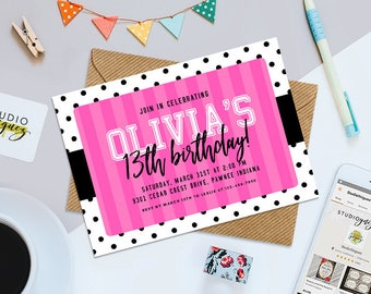 "Pink and Black Teen Birthday Printable 7"" x 5"" Invitation, Pink and Black Birthday Party Invitation, Pink and Black Digital Invitation"