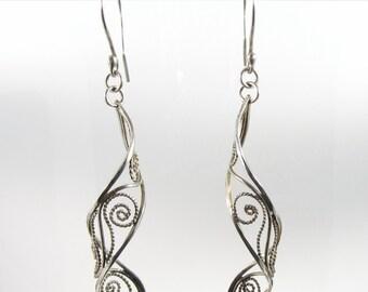 Silver Lace ~ Sterling Silver Filigree Earrings