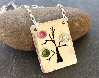 Mothers Necklace, Birthstone Necklace, Personalized Necklace, Family Tree