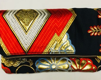 Red, Black and Gold Vintage Obi Silk Fold-over Clutch Purse