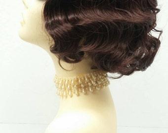 1920's Style Short Dark Auburn Finger Wave Wig. Vintage Style Costume Wig. [02-12-Rosie-33]