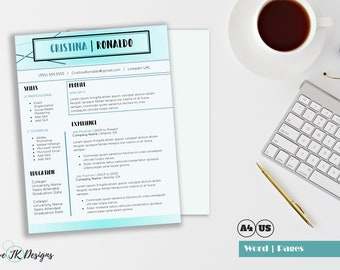 Modern Resume CV template for MS Word and Pages | Light Blue creative resume | Abstract Resume template | Word one page resume | Custom docx