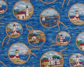 Lighthouses Boats and Houses in circle knots Fabric Quilting Crafting Home Decor