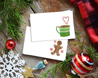 Holiday Gift tags, Mini Cards, Mini Note cards, Cookie Exchange, Homemade with love, Gingerbread man Hot Cocoa, holiday treat tag, christmas