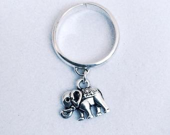 Sterling Silver Adjustable Elephant Ring