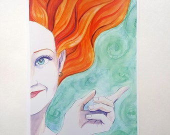SEA NYMPH watercolor fine art print