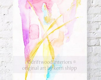 "Abstract Watercolor Print in Pink & Gold - ""All that Glitters"" 11 x 14 - Abstract Art Print - Watercolor Abstract - Modern Abstract Art"