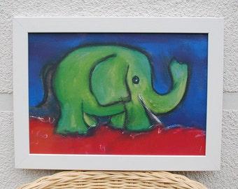 A4 children's poster green elephant