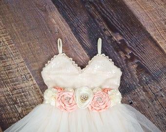 Ivory Tulle Flower Girl Dress, Ivory sequin dress, Cream Tulle, Ivory Cream Wedding, Sash Belt Headband, glitter, Boho Chic Tutu, Bridesmaid