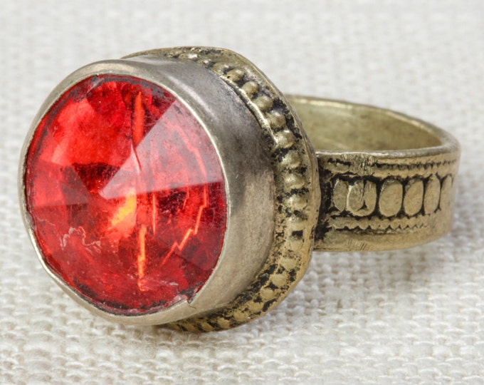 Red & Silver Vintage Afghan Ring Handmade in Afghanistan US Size 9 Unisex Old Glass Tribal Ethnic Statement Ring 7RI